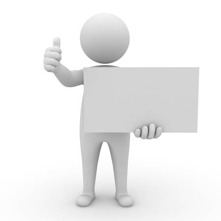 3d man holding blank board and thumbs up on white background photo