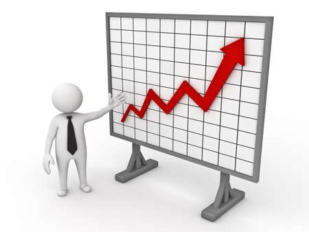 increase diagram: 3d business man making a presentation with growth progress red arrow graph chart on white background