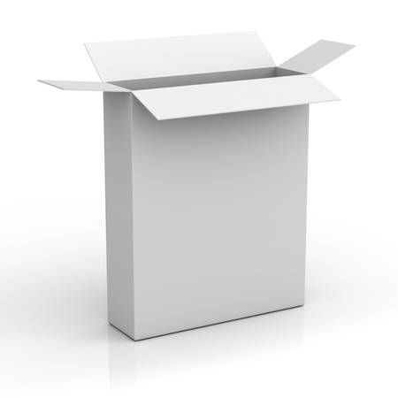 product box: Blank box on white background with reflection
