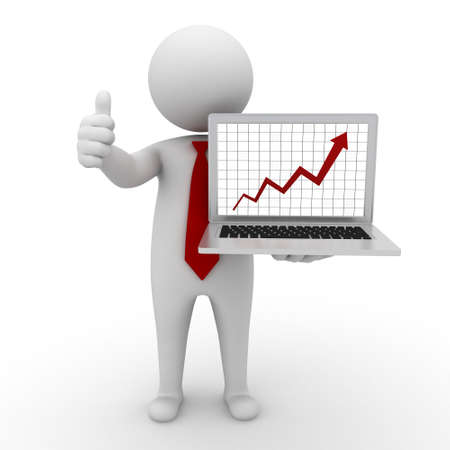 network marketing: Business man standing and showing growth progress graph chart from laptop computer and thumbs up on white background