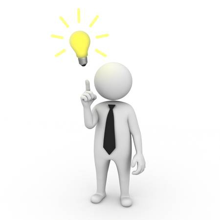 bright idea: 3d businessman with idea lightbulb on white background