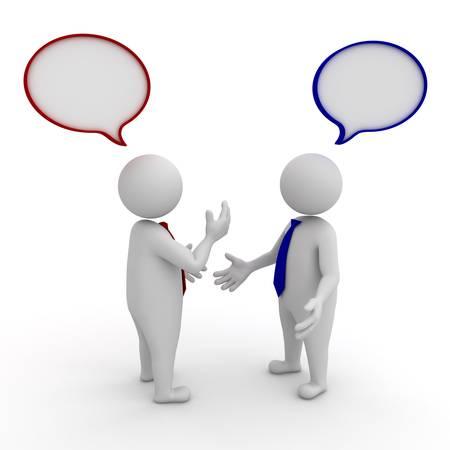 argumento: Dos hombres de negocios de pie y hablando con las burbujas del discurso sobre fondo blanco