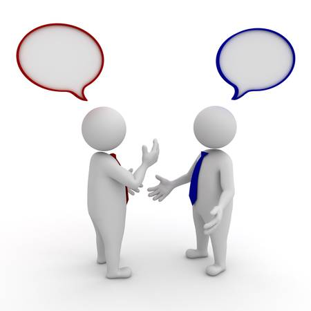 talk to the hand: Two businessmen standing and talking with speech bubbles on white background