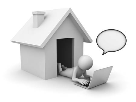 e house: 3d man using laptop computer with speech bubble at home on white background Stock Photo