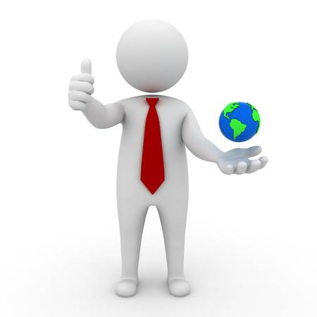 3d business man thumbs up and globe in his hand on white background photo