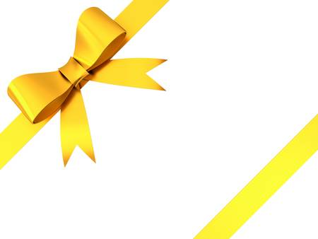 yellow ribbon: Gold gift ribbon bow isolated on white background