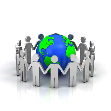 community help: Group of people forming circle around earth globe