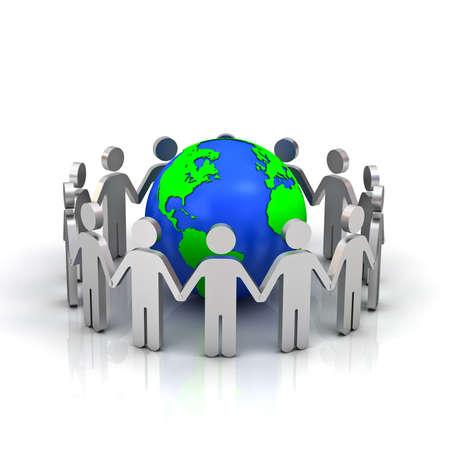 Gruppo di persone che fanno cerchio intorno a globo terrestre Archivio Fotografico