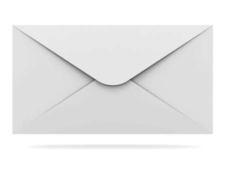 inbox: Mail envelope isolated on white background with shadow