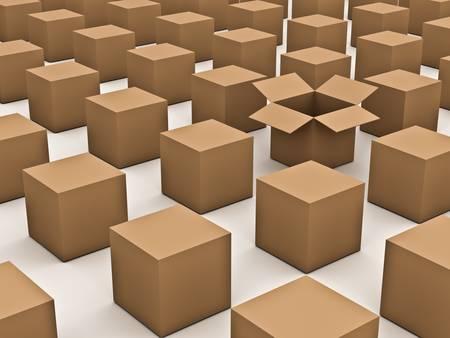cajas de carton: El concepto diferente, abri� una caja de cart�n se destacan en la multitud en el fondo blanco Foto de archivo