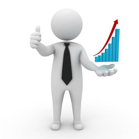 Business di successo, uomo d'affari 3D thumbs up con il grafico in aumento sulla sua mano isolato su sfondo bianco