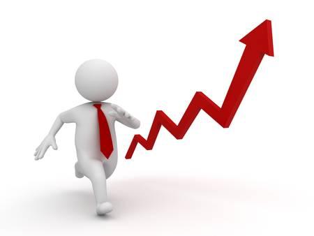 Business concetto rapida crescita, 3d d'affari in esecuzione e freccia rossa aumento isolato su sfondo bianco