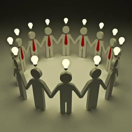Teamwork with idea light bulbs Stock Photo - 12432626