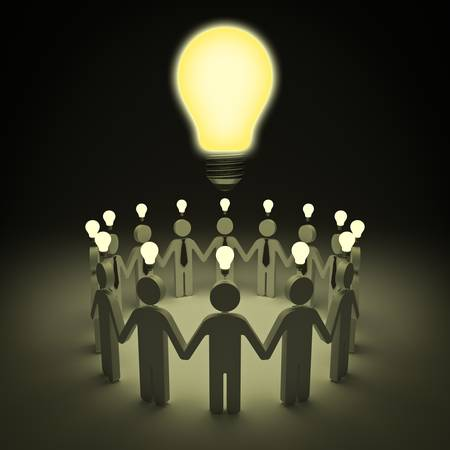 big idea: Teamwork with idea light bulbs concept Stock Photo