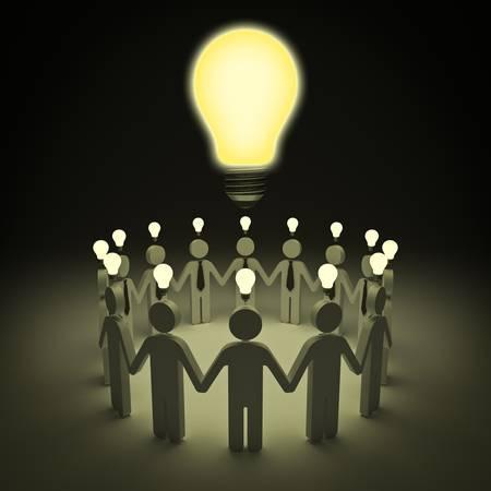 Teamwork with idea light bulbs concept photo