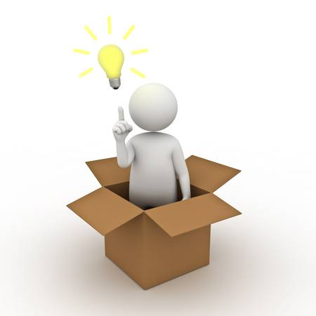 outside box: Think outside the box concept, 3d man standing in cardboard box with idea lightbulb on white background Stock Photo