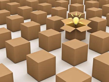 Denken buiten de doos en individualiteit concept, een geopend kartonnen doos met het idee gloeilamp op te vallen in de menigte op een witte achtergrond Stockfoto