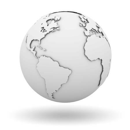 globo terraqueo: Planeta tierra blanca sobre fondo blanco con la sombra Foto de archivo