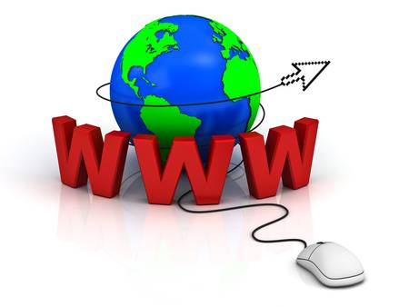 world wide web: World wide web internet concept, Earth globe with computer mouse and arrow cursor isolated on white background
