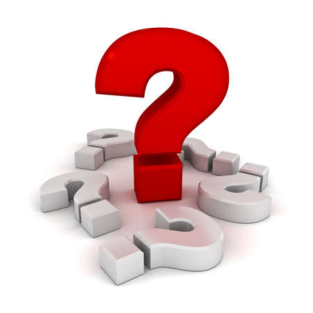 asking question: Big problem concept, red question mark amongst white question marks on white background