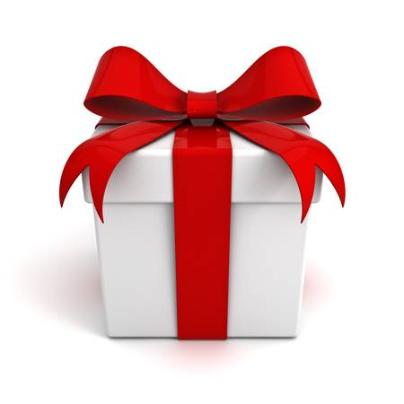 Gift box with red ribbon bow isolated on white background Stock Photo - 13864654