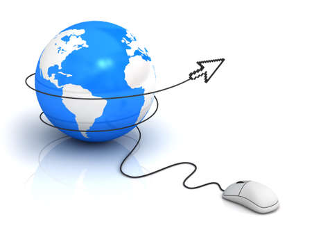 reflection internet: Internet concept, Earth globe and computer mouse with arrow cursor on white background