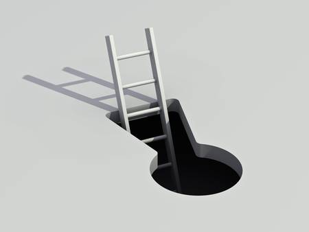 open hole: Keyhole and ladder with shadow Stock Photo