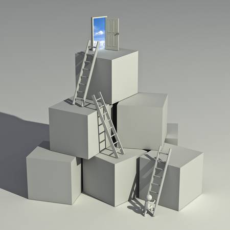 Ladder of success concept, 3d man climbing ladders to the top of the boxes on white background photo