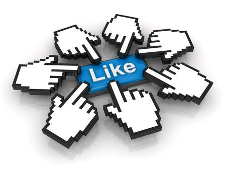 like button: Like concept, many hand cursors clicking like button on white background with reflection Stock Photo