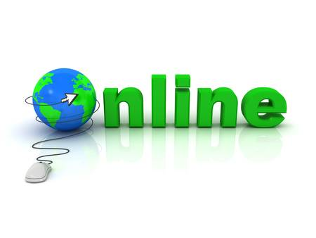 Online concept, Computer mouse with arrow cursor and globe on white background with reflection Stock Photo - 13864650