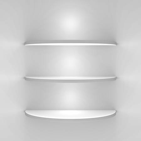 White shelves with lights on white background photo