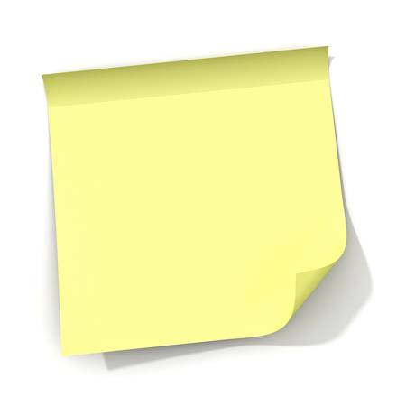 office notes: Sticky note with curly corner and shadow Stock Photo