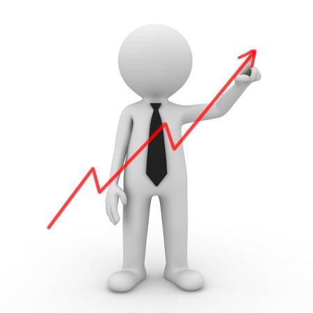 drawing arrow: Businessman drawing graph on white background