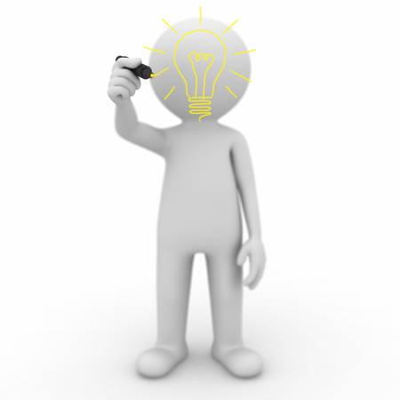 yellow character: 3d man drawing idea light bulb on white background