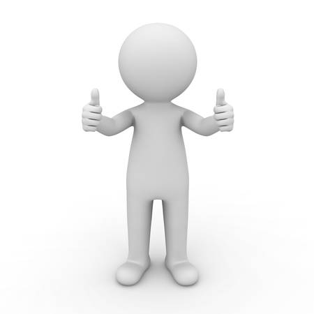two thumbs up: 3d man showing thumbs up on white background Stock Photo