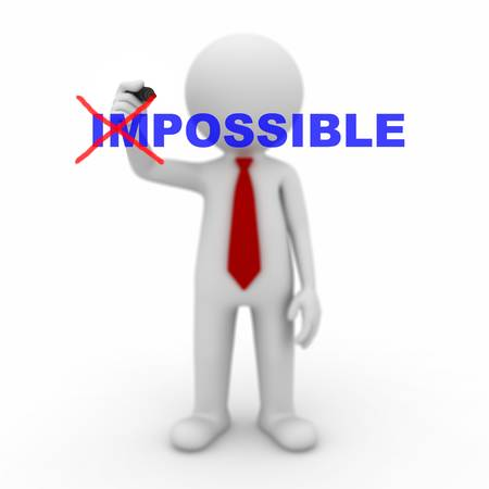 solving: Businessman turning the word impossible into possible on white background