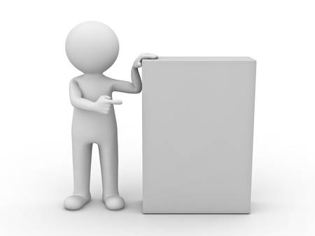 3d man pointing finger at blank box on white background photo
