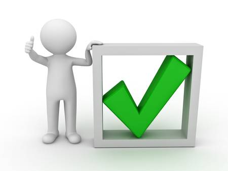 accept: 3d man showing thumb up with green check mark in box on white background