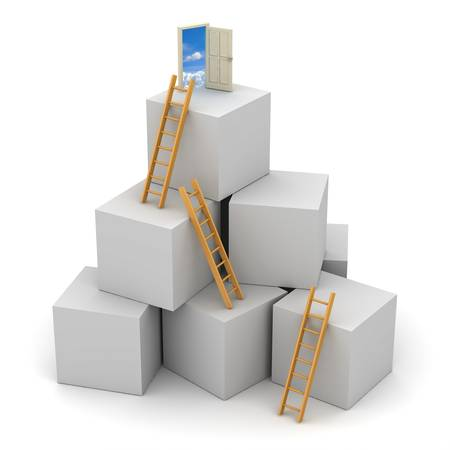 conquering: Ladder of success concept Stock Photo