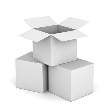 White opened cardboard box on top of closed boxes isolated on white background photo