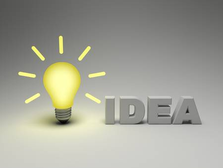 Bright idea concept, glowing lightbulb with word idea on grey background photo