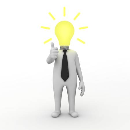 3d businessman with idea lightbulb isolated on white background photo
