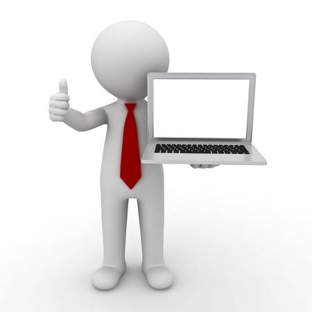 3d businessman showing blank laptop computer and thumbs up on white background Stock Photo - 14033239