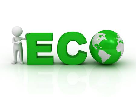 Eco friendly concept, 3d man pointing finger at green word eco on white background with reflection photo