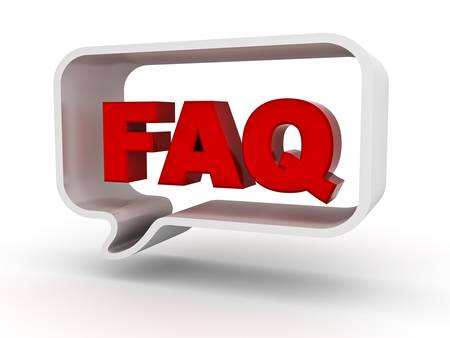 Frequently ask question concept, word faq in speech bubble on white background photo
