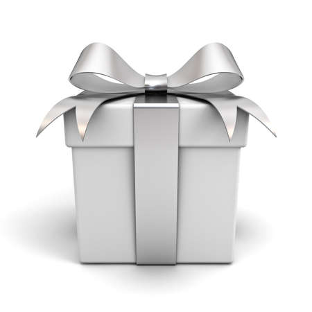 silver ribbon: Gift box with silver ribbon bow isolated on white background
