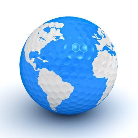 Globe map on golf ball on white background photo