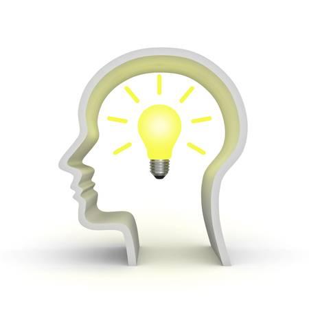 Idee gloeilamp in menselijk hoofd vorm van begrip op een witte achtergrond