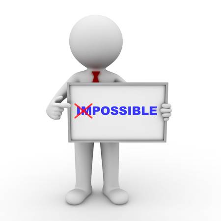 crossed out: 3d businessman turning the word impossible into possible and showing on whiteboard isolated on white background