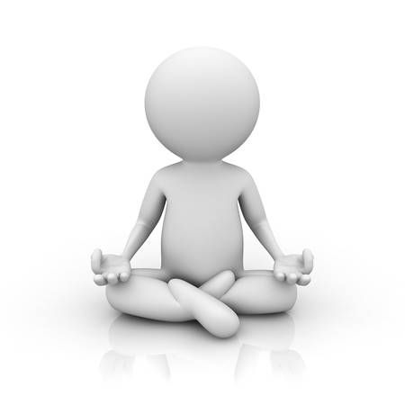 posture: 3d man doing meditation on white background with reflection